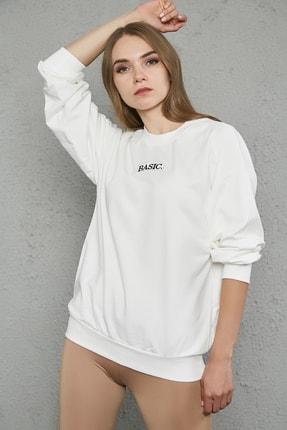 Sateen Kadın Ekru Rahat Kesim Nakışlı Sweatshirt