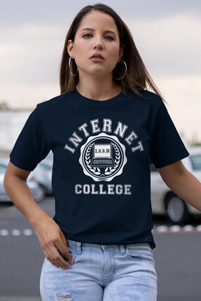 Rock & Roll34 İnternet Mektebi Lacivert Kısa Kollu Kadın T-shirt