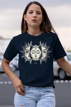 Rock & Roll34 Ay Güneş Lacivert Kısa Kollu Kadın T-shirt