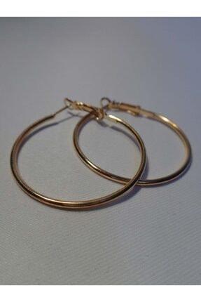 Accessories Altın Rengi Klasik Halka Küpe (4 Cm)