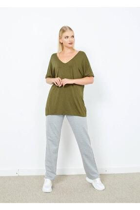 Cazador Kadın Haki V Yaka Basic Tişört