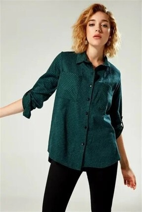 Boutiquen Kadın Yeşil Çift Cepli Kareli Gömlek My-03