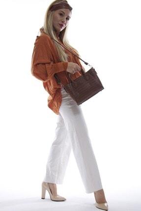 Fume London Kadın Taba Kroko Askılı El Ve Omuz Çantası Fb3027