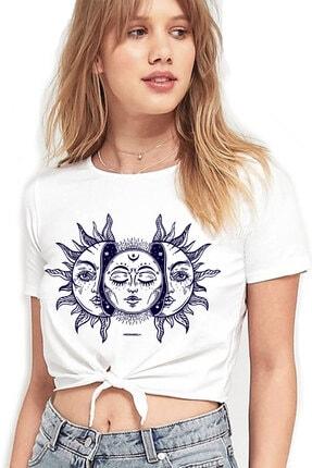 Rock & Roll34 Ay Güneş Beyaz Kesik Crop Top Bağlı Kadın T-shirt
