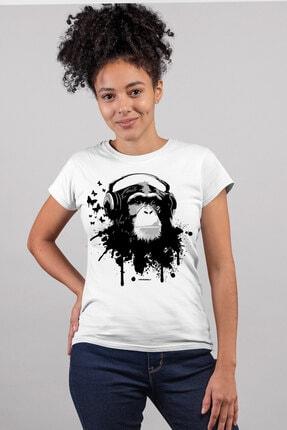 Rock & Roll34 Kulaklıklı Maymun Beyaz Kısa Kollu Kadın T-shirt