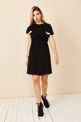 Morpile Kadın Siyah Bel Bağlamalı Mini Elbise