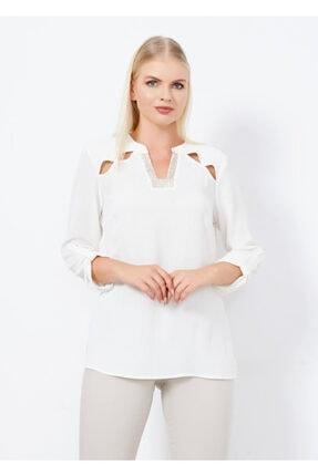 Cazador Kadın Ekru Omuz Detaylı Bluz 40