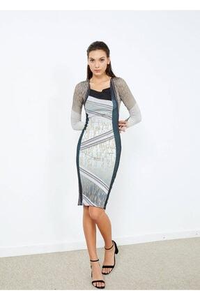Cazador Kadın Gri Deqaje Yaka Desenli Elbise 40