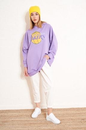 Eka Kadın Mor Kapüşonlu Lakers Baskılı Uzun Sweatshirt