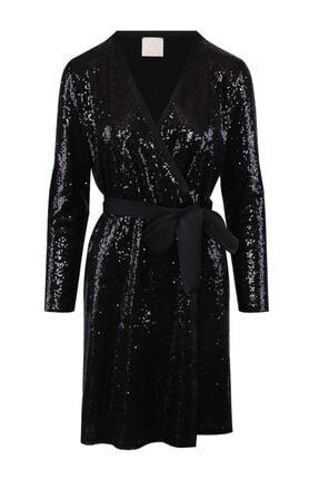 W Collection Kadın Siyah V Yakalı Elbise