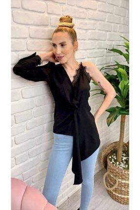 Quzu Kadın Siyah Dantel Detay Tasarım Bluz