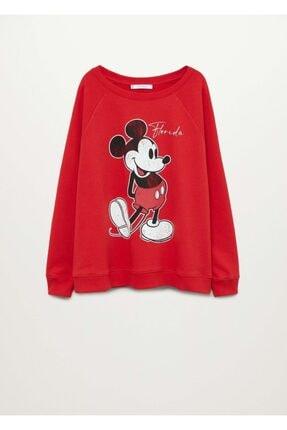 Mango Kadın Kırmızı Mickey Mouse Sweatshirt