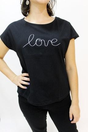 Cazador 4393 Bayan Love Işleme Kısa T-shirt Siyah