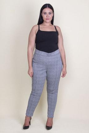 Şans Kadın Gri Ekose Desenli Beli Lastikli Çima Dikişli Likralı Pantolon 65N18148