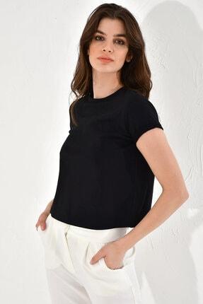 Hanna's Kadın Siyah Sırtı Şerit Detaylı Kısa Kollu T-Shirt