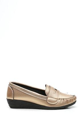 Ayakkabı Modası Kadın Altın Deri Babet