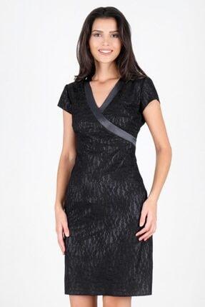 Spazio Kadın Siyah Jailyn V Yaka Dantel Elbise 50095967