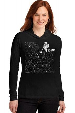 Rock & Roll34 Süpürgeli  Astronot Siyah Kapşonlu Uzun Kollu  Kadın T-shirt