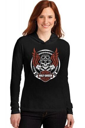 Rock & Roll34 Motorcu Kurukafa Siyah Kapşonlu Uzun Kollu  Kadın T-shirt