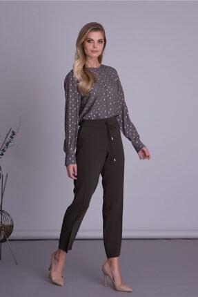 Gizia Kadın Haki Renk Havuç Kesim Kumaş Pantolon