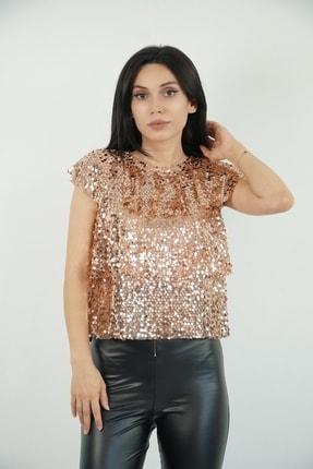 Lila Rose Kadın Bronz Payetli Kolsuz Bluz