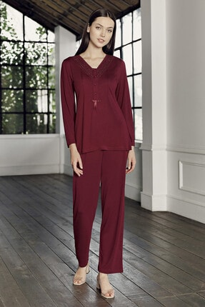 Artış Kadın Bordo Viskon Pijama Takım 9204