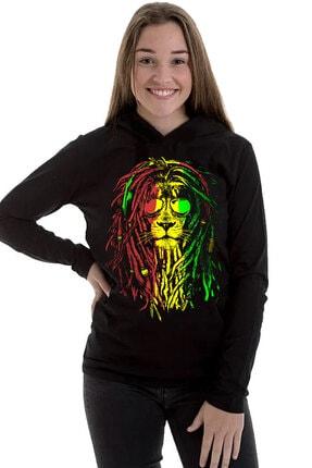 Rock & Roll34 Kadın Siyah Rasta Reggae Aslan Kapşonlu Uzun Kollu T-shirt
