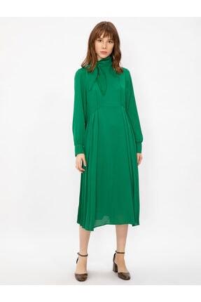 Vekem Kadın Yeşil Yakası Bağlamalı Uzun Kollu Midi Elbise