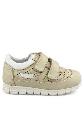 Kız Çocuk Bej Beyaz Cırtlı Ayakkabı 10140K
