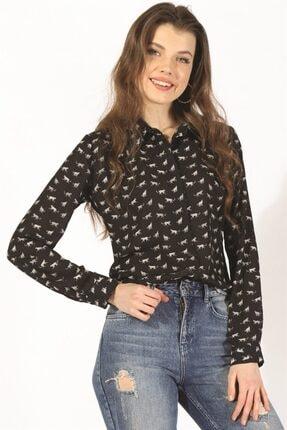 Twister Jeans Kadın Bayan Siyah Empirme Gömlek 26806 Sıyah