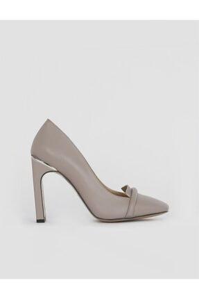 İlvi Kadın Vizon Deri Topuklu Ayakkabı