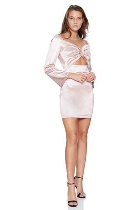 Keikei Kadın Pudra Saten Uzun Kol Kısa Elbise