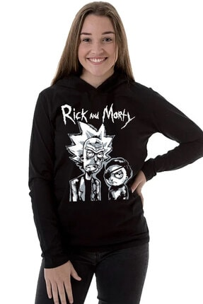 Rock & Roll34 Rick & Morty Siyah Kapşonlu Uzun Kollu  Kadın T-shirt