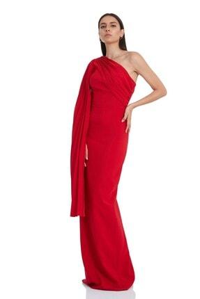 Keikei Kadın Kırmızı Krep Tek Kol Uzun Elbise