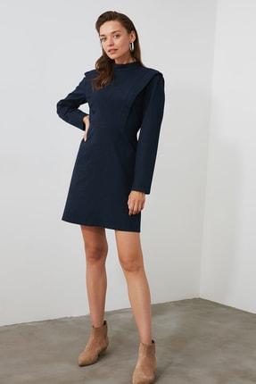 TrendyolMilla Lacivert Fırfırlı Dik Yaka Elbise TWOAW21EL0799