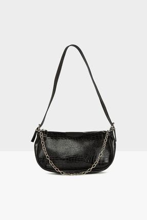 Bagmori Kadın Siyah Ince Zincirli Baget Çanta M000005116