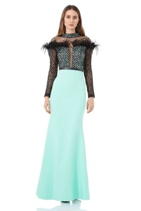 Keikei Kadın Su Yeşili Krep Uzun Kol Maxi Elbise