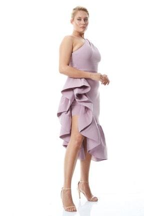 Keikei Kadın Lila Krep Uzun Kol Midi Elbise