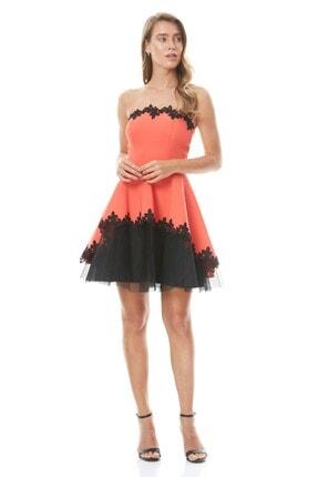 Keikei Kadın Turuncu Krep Straplez Mini Elbise
