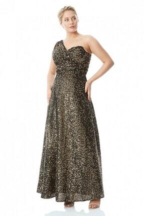 Keikei Kadın Altın Büyük Beden Pul Payet Tek Kol Maxi Elbise