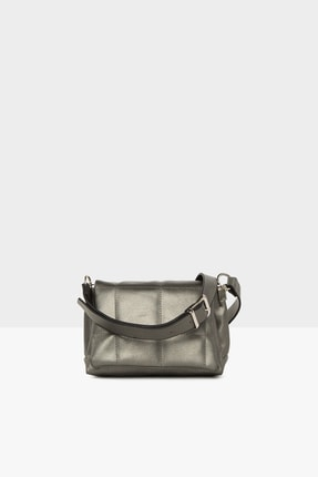 Bagmori Kadın Gümüş  Kare Nakışlı Mini Çanta M000005086