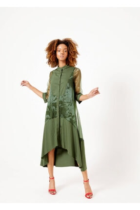 Cazador Kadın Haki Hakim Yaka Asimetrik Elbise