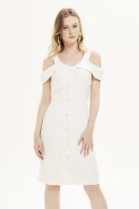 Naramaxx Omuz Dekolteli Beyaz Elbise
