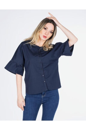 Vision Kadın Lacivert  Kısa Kollu Gömlek