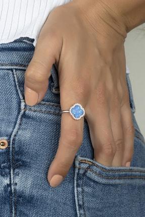 Else Silver Mavi Opal Taşlı Gümüş Çiçek Modeli Bayan Yüzüğü