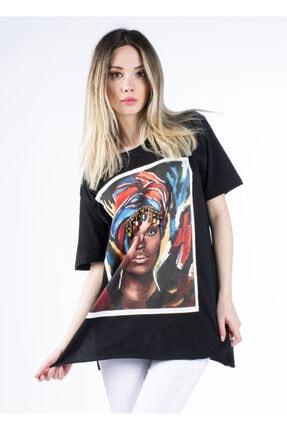 Vision Kadın Siyah Baskılı Boncuk Detaylı T-shirt