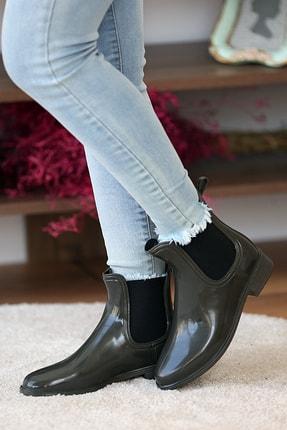 Pembe Potin Kadın Haki Yağmur Botu