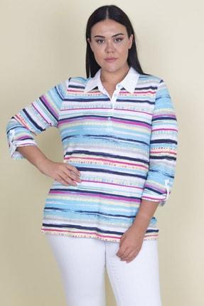 Şans Kadın Renkli Polo Yakalı Çizgili Bluz 65N18246