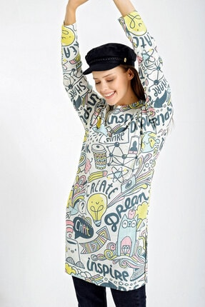 Bigdart Kadın Beyaz Renkli Yırtmaçlı Triko Tunik 4216