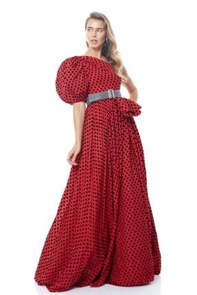 Keikei Kadın Kırmızı Tül Tek Kol Uzun Elbise